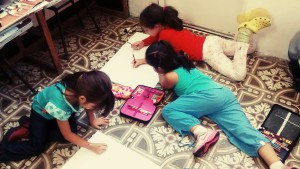The girls drawing